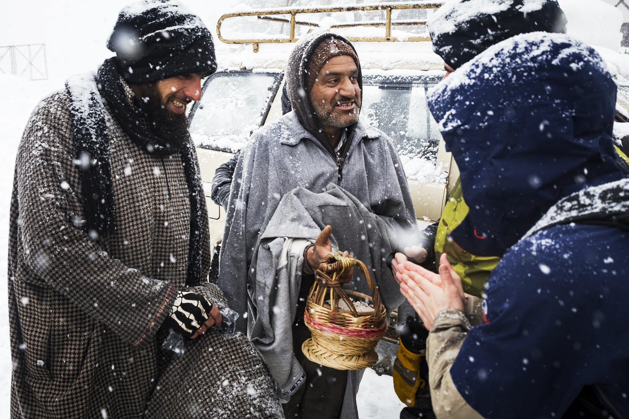 Locals staying warm in Gulmarg
