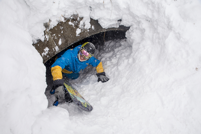 Crawling out of a snowed in tunnel in Myoko Kogen with First Tours