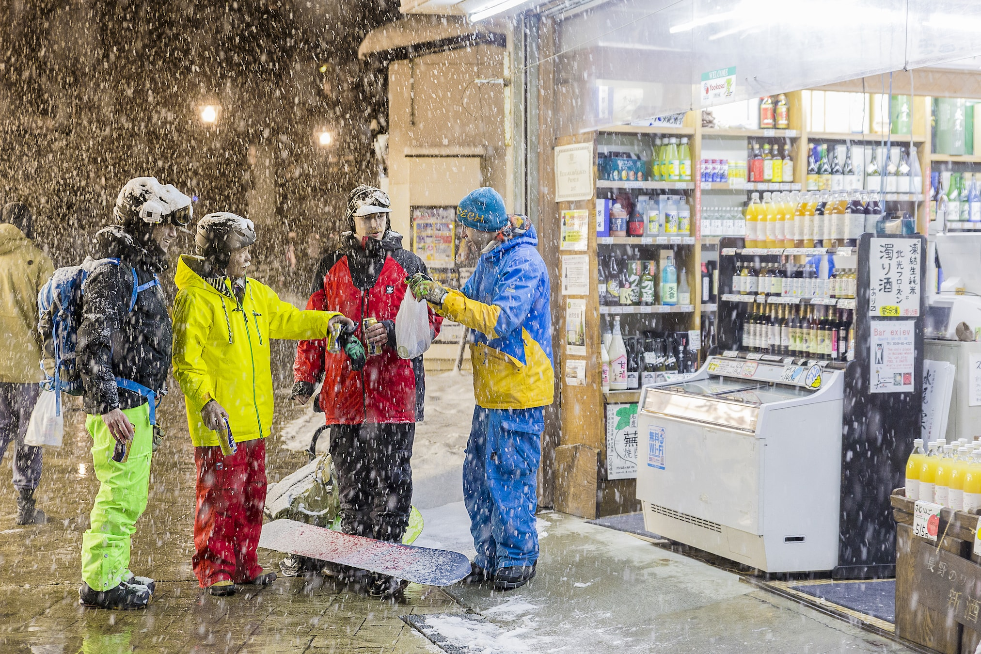 apres ski drink while it's snowing hard in Nozawa Onsen with First Tours