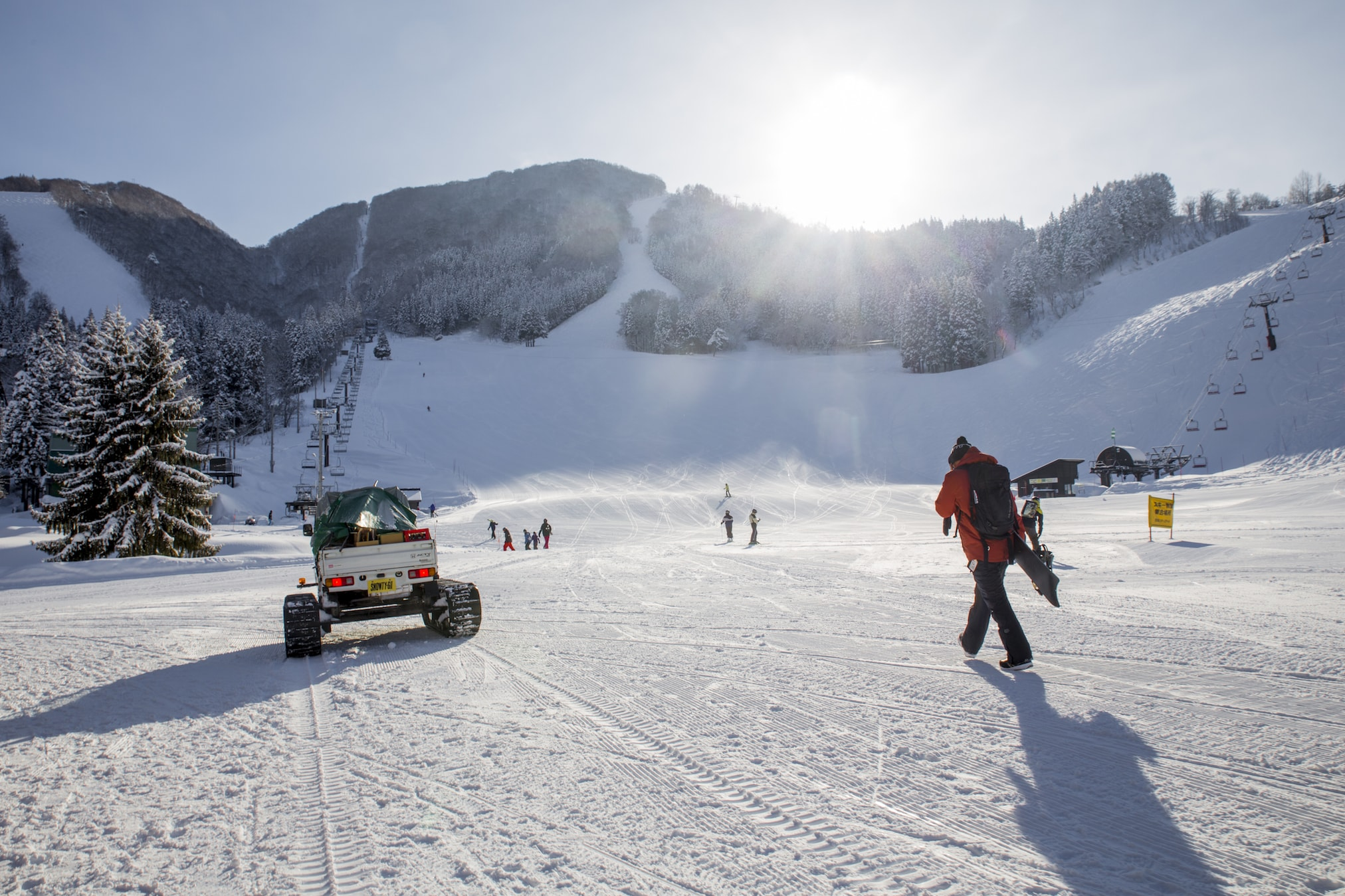 Early morning front valley Nozawa Onsen during Powder Culture Tour with First Tours