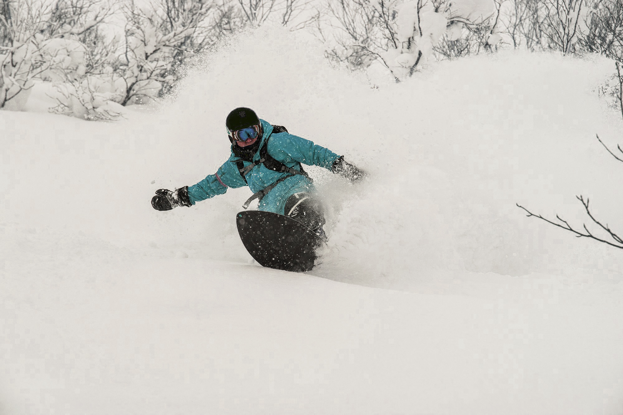 Girl snowboarding powder in Hakuba with First Tours