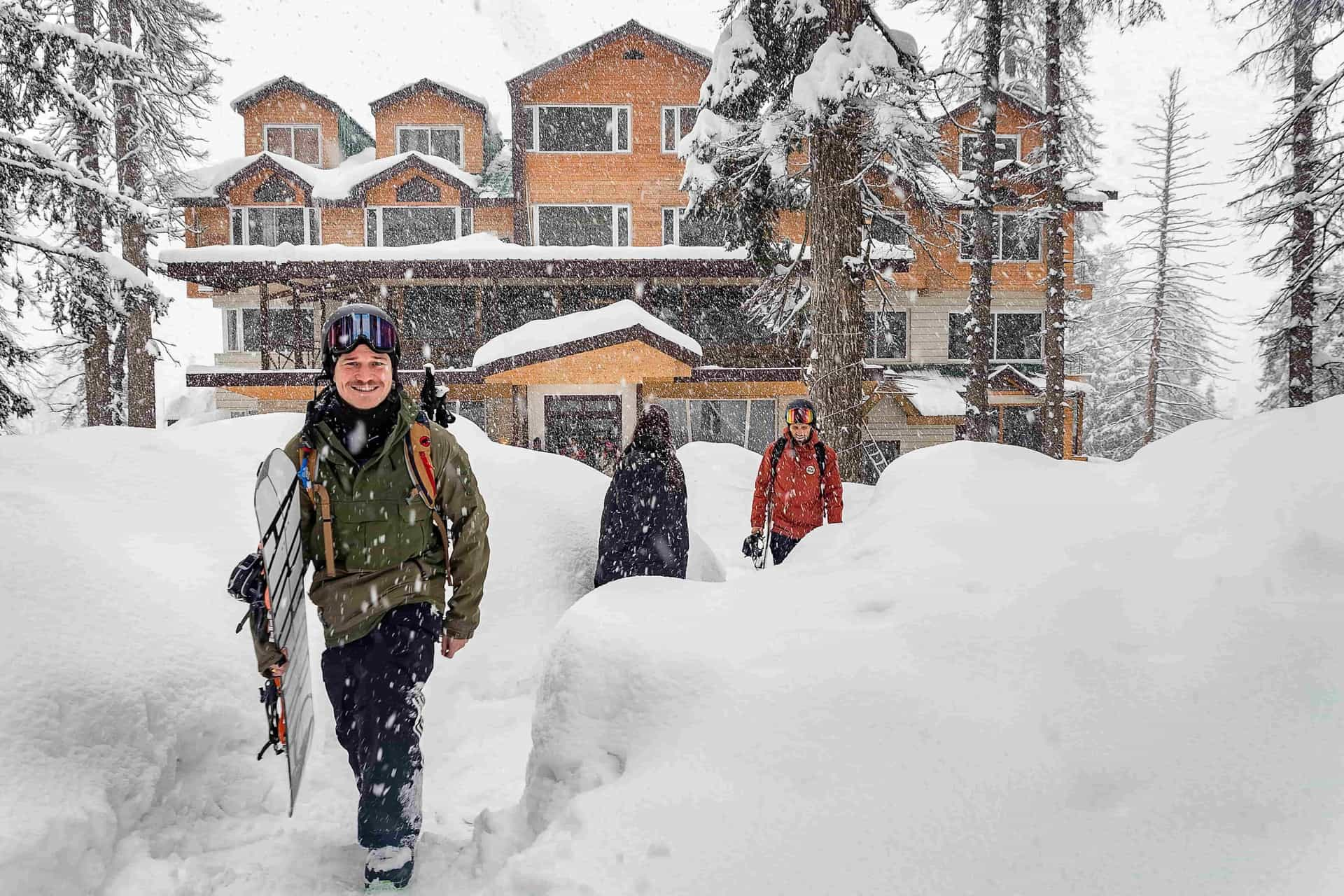 Walking out of the hotel in Gulmarg through deep snow with First Tours