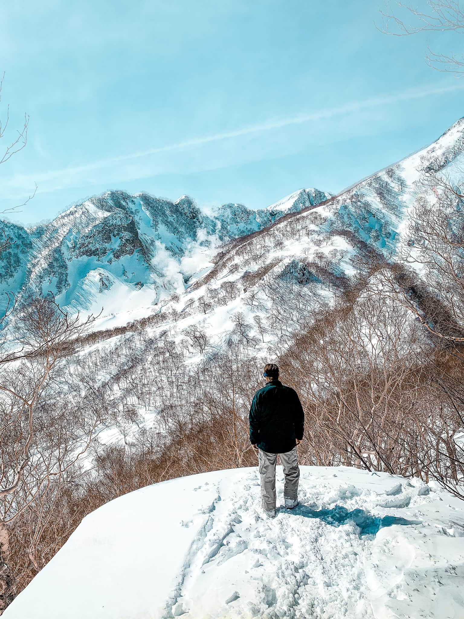 watching out of Mt Myoko during powder culture tour with first tours