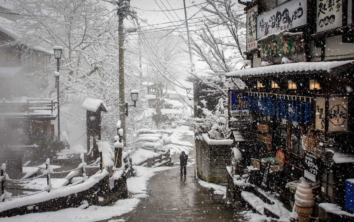 Snowy Nozawa Onsen during Powder Culture Tour with First Tours
