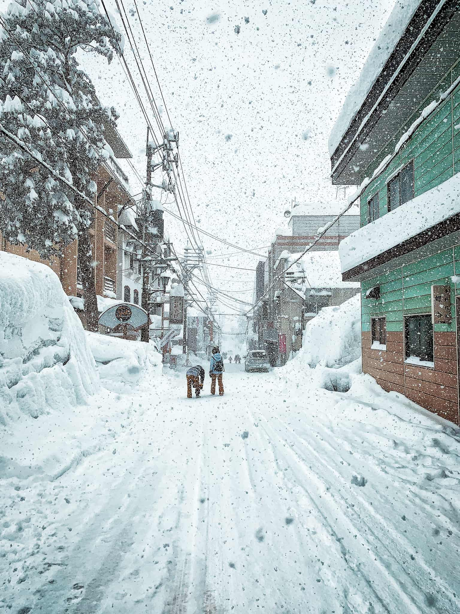 snowing hard in Myoko during powder culture tour with First Tours